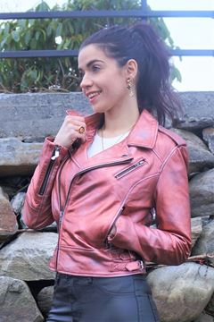 Bilde av ALIX Metallic leather jacket